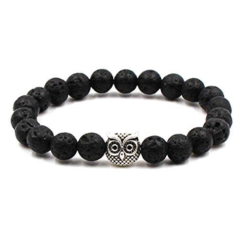 BaiYunPOY 8mm Handmade Charm Prayer Beaded Yoga Bracelet for Men Women - Natural Energy Beads Bracelet Healing Bangle - Lava Stone Owl