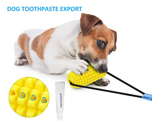 Pecute Dog Chew Toys with 2 Suction Cups Dog Tug of War Toy, Puzzle Treat Food Dispensing Corn Shape Molars Teeth CleaningToys, Tough and Bite-Resistant Teething Chewing Toys for Dogs