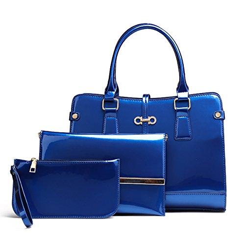 Chiaro Tracolla 3 con Blu chiaro Donna Borsa Coolives Blu pezzi a mano lunga Quadrato set 6TwHqa1