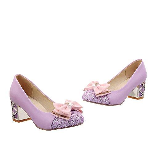 ... AllhqFashion Damen Mittler Gemischte Farbe Ziehen auf Weiches Material  Rund Zehe Pumps Schuhe Lila