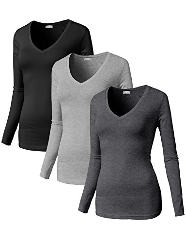 Neck Thermal Long Sleeves Top with Wide Neck Trim MULTI12 US S/Asia S (SET3CWTTL0172) ()