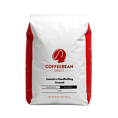 Coffee Bean Direct Sumatra Mandheling Ground Coffee, 5-Pound Bag