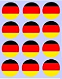 12 german Flag rice paper fairy / cup cake 40mm toppers pre cut decoration germany