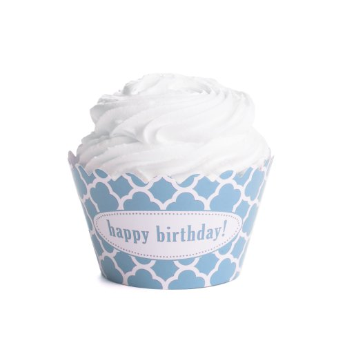 Dress My Cupcake Personalized Message Cupcake Wrappers, Spanish Tile, Quatrefoil, Happy Birthday, Sky Blue, Set of 50 (Spanish Tile Cupcake Wrapper)