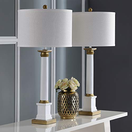 Collection White Gold Two Light - Safavieh Lighting Collection Henley White and Gold 32.5-inch Table Lamp (Set of 2)