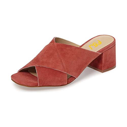 FSJ Women Casual Faux Suede Sandals Open Toe Chunky Low Heels Mules Comfortable Shoes Size 4-15 US Red