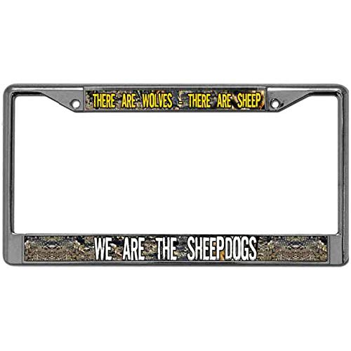 Sheepdog License Plate Frame - WangÿCouBing2 Car Licenses Plate Frame Personality There are Wolves There are Sheep We are The Sheepdogs License Plate Frame Tag Metal License Plate Cover Matching Screws Caps