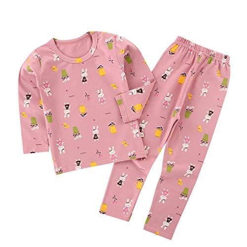 foreverH Schlafanzug Baumwolle Pyjama für Teenager Nachtwäsche Kinder Herbst Winter Weihnachten Lang Baumwolle Langarm Zweiteiliger Pyjama
