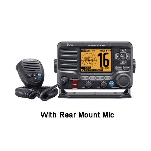 ICOM IC-M506 31 / M506 VHF Radio with rear-mouint mic, MFG# IC-M506 31, Fixed mount VHF, 25/1 Watts, with built-in 2-way 25 Watt loudhailer/foghorn, CommandMic-IV capable, Class-D DSC, NMEA 0183, NMEA 2000, and optional voice scrambler.