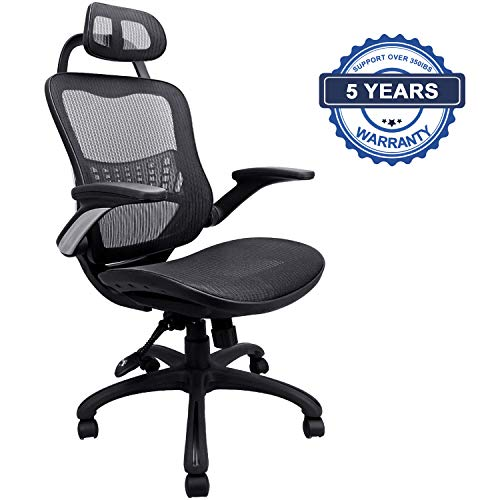 Flip Over Armrest - Ergonomic Office Chair, Weight Capacity Over 300Ibs Passed BIFMA,Breathable High Back Mesh Office Chairs,Adjustable Headrest,Backrest and Flip-up Armrests,Executive Office Chair for Height Under 5'11
