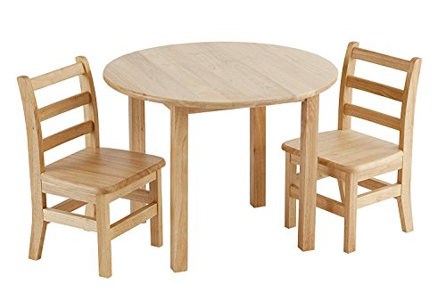 ECR4Kids 30 Round Natural Hardwood Table, 18 Height with Two 12 Chair Set (3-Piece)