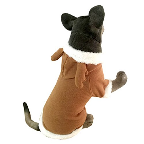 [Ranphy Pet Chirstmas Costumes Reindeer Dog Costume Hooded Dog Coat Fleece Medium Large Dog Xmas Coat Clothes Warm 2XL] (Deluxe Reindeer Mascot Costumes)