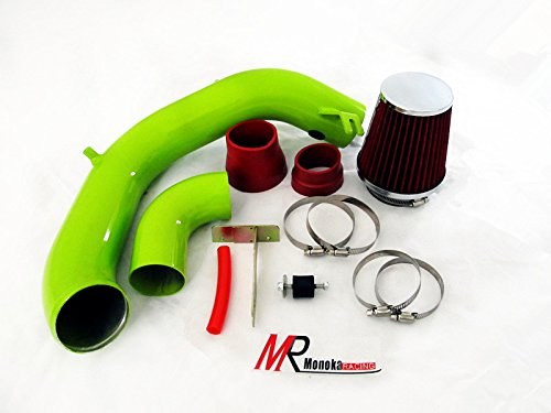 03 04 05 Dodge Neon SRT-4 2.4L Turbo GREEN Piping Cold Air Intake System Kit with Red Filter (Ram Intake 4 Srt Short)