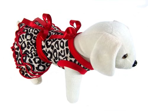 UP Collection Leopard Printed Dog Dress, Red Bow, XX-Small, My Pet Supplies
