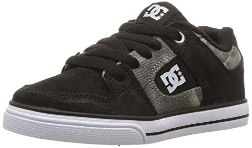 DC Boys' Pure SE Skate Shoe, Black Print, 1.5 M US Little Kid (Dc Dyrdek Skate Shoes)