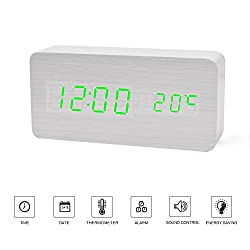 Led Clock---FiBiSonic Wood Digital Clock Small Green Led Clock, Displays Time Date And Temperature,Silent Modern Style Alarm Clock with Thermometer,Best Gift for Friends/Families