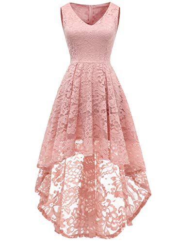 9478f2052d01e9 MUADRESS Women s Cocktail Dress Floral Lace V Neck High Low Sleeveless  Formal Party Dress