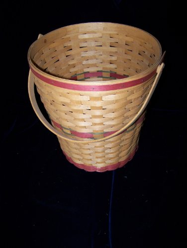 Longaberger 1991 Handmade Hostess Tree Trimming Christmas Basket Red Trim Classic Stain New