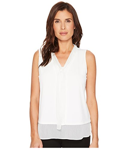 Tommy Hilfiger Women's Sleeveless V-Neck Knit Top with Tie and Border Ivory ()
