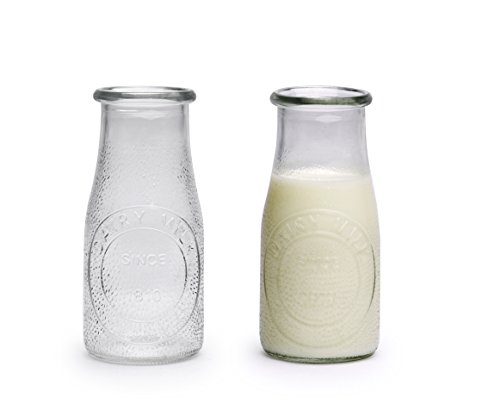 Palais Glassware Milk Bottles (Hammered Set of 6 'Dairy' Embossed, 16 Ounce) ()