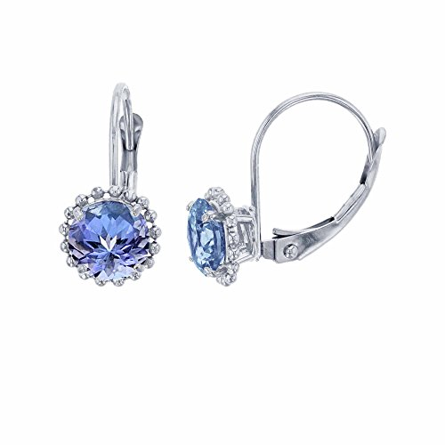 10K White Gold 6mm Round Tanzanite Center Stone Bead Frame Leverback Earring ()