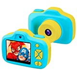 """Kids Digital Camera Gifts for 3-9 Year Old Boys, 8MP 2.3"""" LCD Rechargeable HD Front/Rear Selfie Digital Toddler Camera, 1080P Video Recorder Action Preschool Toy Camcorders, Shockproof Soft Silicone Material for Indoor Outdoor Blue(Memory Card Not Included)"""