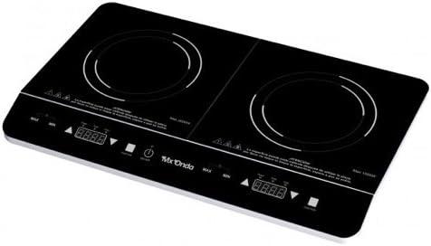 Mx Onda MX-PIP2199 Placa de inducción portátil doble, 2000 W, 0 Decibelios, Negro