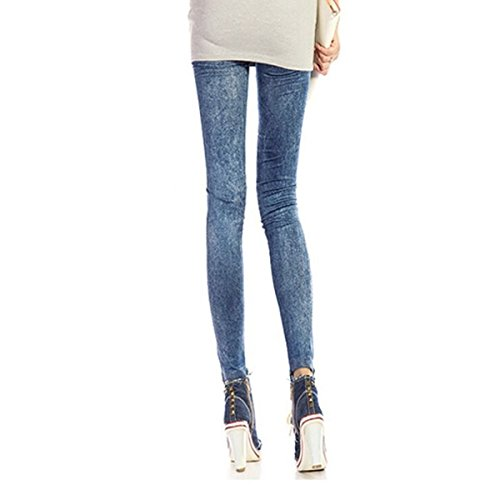 - Wrapables Women's Faux Denim Jeans Print Leggings, Acid Wash Blue