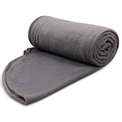 REDCAMP Fleece Sleeping Bag Liner for Adult Warm or Cold Weather, 87' Long Full Sized Zipper Camping Blanket for Outdoor Indoor Used with Sack, Grey with Hood