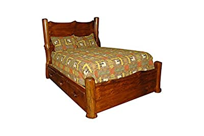 Rustic Pine Natural Live Edge Slab Panel Bed WITH STORAGE - QUEEN - Amish Made in USA