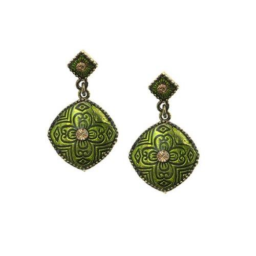 1928 Jewelry Brass-Tone Green Enamel Drop Earrings
