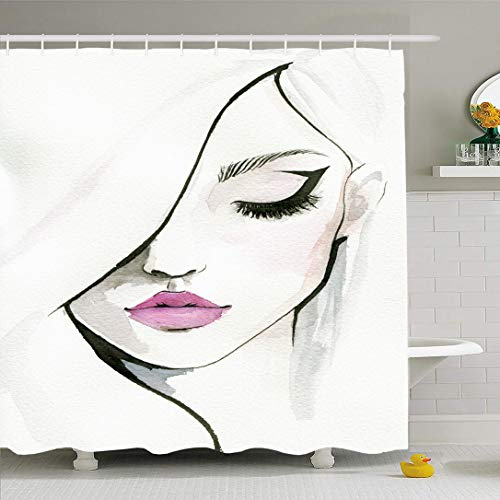 Ahawoso Shower Curtain for Bathroom 66x72 Pink Eyeliner Watercolor Pretty Woman Beauty Make People Watercolour Face Girl Cheeks Eye Up Artist Waterproof Polyester Fabric Bath Decor Set with Hooks (Actresses With Dark Hair And Green Eyes)