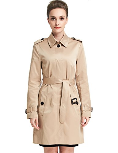 Camii Mia Women's Slim Fit Windbreaker Belted Trench Coat (Small, Khaki)