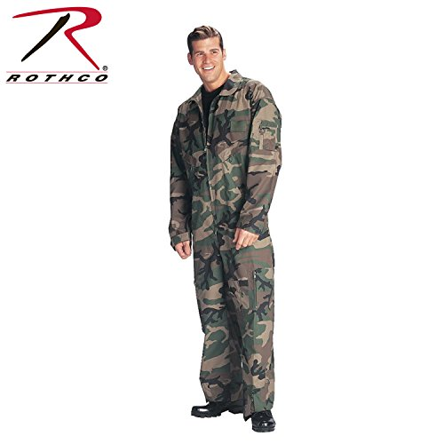 Military Combat Coveralls (Rothco Flight Coverall, Woodland Camo, X-Large)