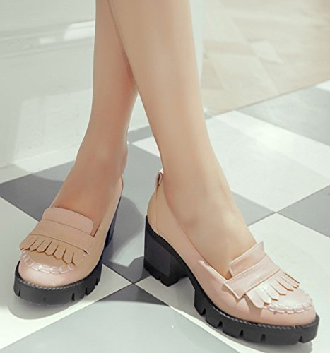 IDIFU Women's Apricot Shoes Chunky Top Tassels On Vintage Heels Office Slip Low Oxfords Platform Mid rr6Zq