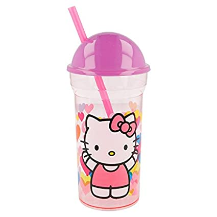 Stor Vaso CAÑA Transparente Tapa Alta 460 ML. Hello Kitty Hearts