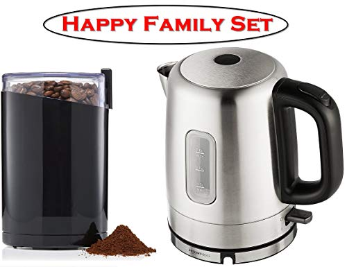 Happy Family Set ❤ Stainless Steel Electric Kettle and Electric Coffee Grinder, Spice Grinder, Stainless Steel Blades, 3 Ounce, Black