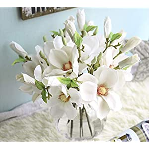 6pcs Artificial Flowers Magnolia Flower Bud Bridal Wedding Bouquet Real Touch Flower Bouquets Home Party Event Christmas New Year Wedding Decoration, Vase Not Included 11