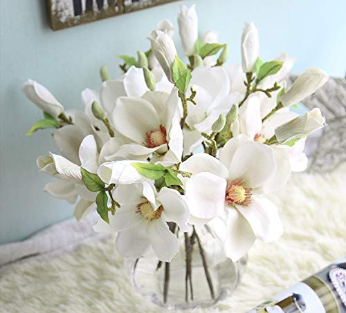 Magnolia Silk Flower - 6pcs Artificial Flowers Magnolia Flower Bud Bridal Wedding Bouquet Real Touch Flower Bouquets Home Party Event Christmas New Year Wedding Decoration, Vase Not Included