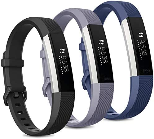 Pack 3 Replacement Band Compatible for Fitbit Alta Bands/Fitbit Alta HR Bands, Adjustable Replacement Soft Silicone Sport Bands for Woman and Men (Large, Black+Grey+Navy Blue) 1