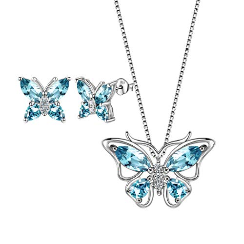 - Aurora Tears 925 Sterling Silver Blue Butterfly Jewelry Sets Women Necklace/Earrings Sets Animal Jewellery Sets Crystal Pendant/Studs Gift for Girls DS0036W