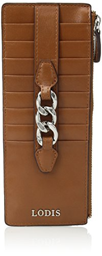 Lodis Rodeo Chain Credit Card Case with Zipper Pocket, Toffee