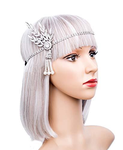 Art Deco 1920s Flapper Great Gatsby Leaf Wedding Bridal Tiara Pearl Headpiece Headband(silver) ()