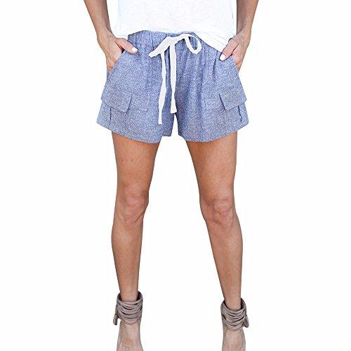 FarJing Clearance sale Women Pants Fashion Women Shorts Mid Waist Sexy Pocket Shorts Causal Hot Pants(XL,Blue