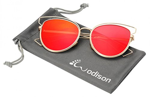 WODISON UV400 Reflective Mirror Lens Hollow Metal Frame Cat Eye Polarized Sunglasses for Women Red Lens