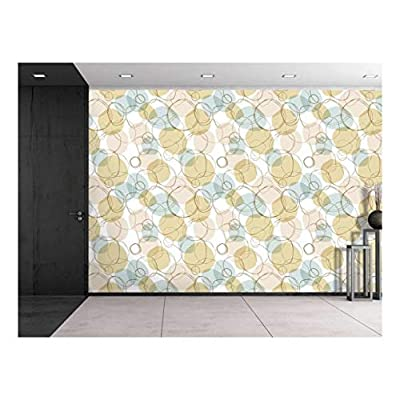 Large Wall Mural Bright Seamless Linear Pattern with Hand Drown Circles Vinyl Wallpaper Removable Decorating, it is good, Marvelous Object of Art
