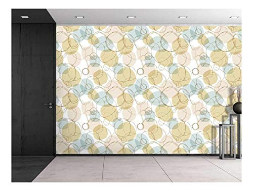 Large Wall Mural Bright Seamless Linear Pattern with Hand Drown Circles Vinyl Wallpaper Removable Decorating