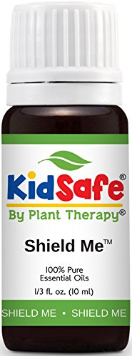 Plant Therapy KidSafe Shield Me (formerly Ban the Bugs) Synergy Essential Oil Blend. Blend of: Citronella, Grapefruit, Geranium Bourbon, Rosalina and Patchouli. 10 ml (1/3 oz).