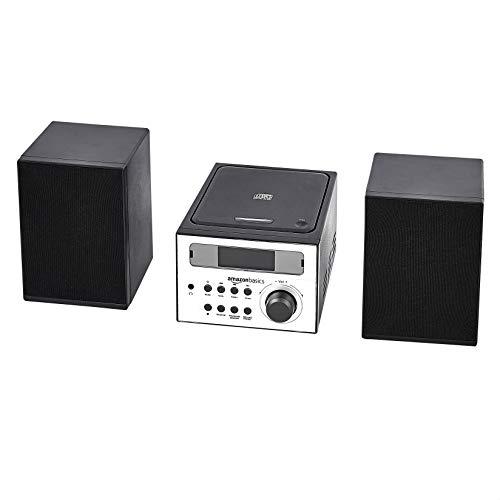 Amazon Basics Mini Hifi-systeem met FM-radio en AUX-ingang – zwart