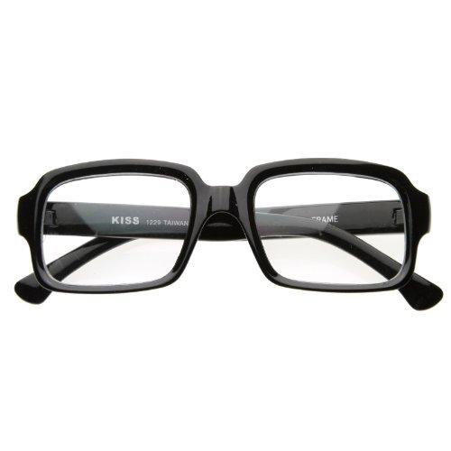 zeroUV - Vintage Inspired Eyewear Thick Frame Bold Square Clear Lens Eyeglasses Glasses - Glasses Black Bold Frames